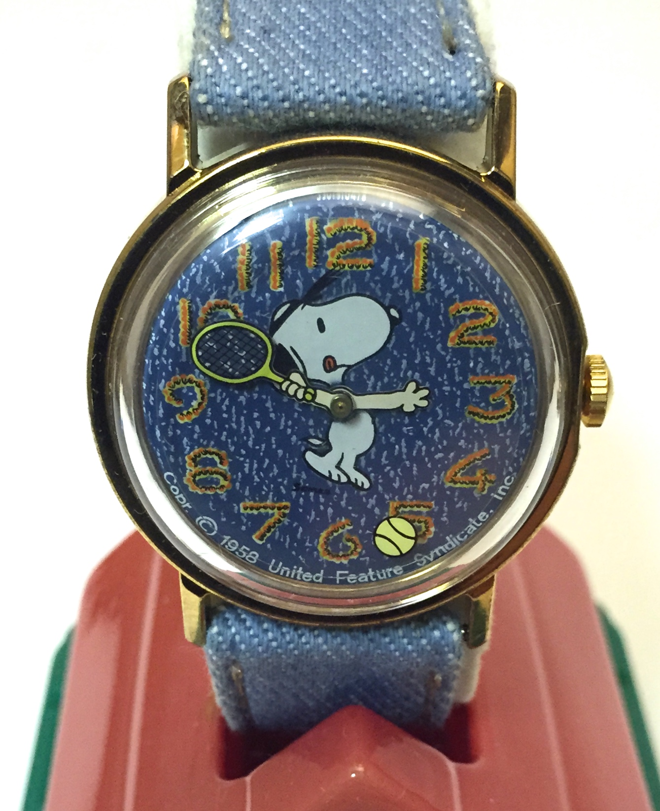 1976 snoopy denim tennis watch by timex in original box character hour for Snoopy watches